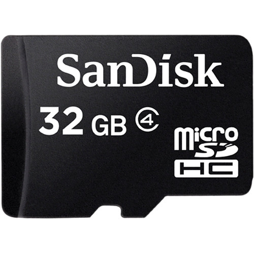 SanDisk 32GB microSDHC Memory Card Class 4 With SD Adapter