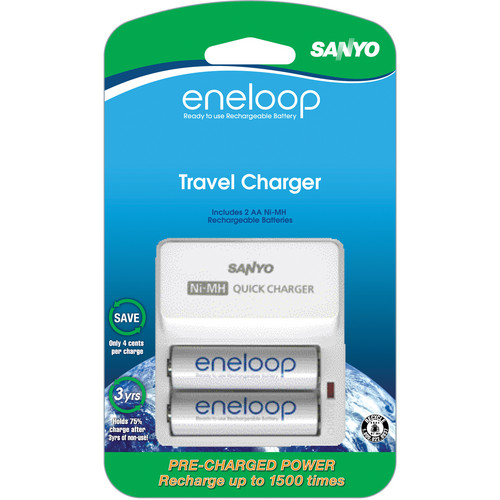 Sanyo SEC-TDR02N Battery Charger and 2 AA Batteries