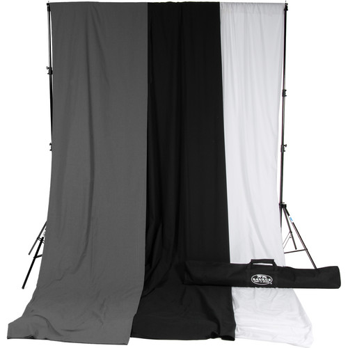 Savage Accent Muslin Background Kit (10 x 24', White/Gray/Black)