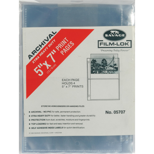 "Savage Film-Lok Archival Storage Page for Prints- 5x7""- 25 Pack"