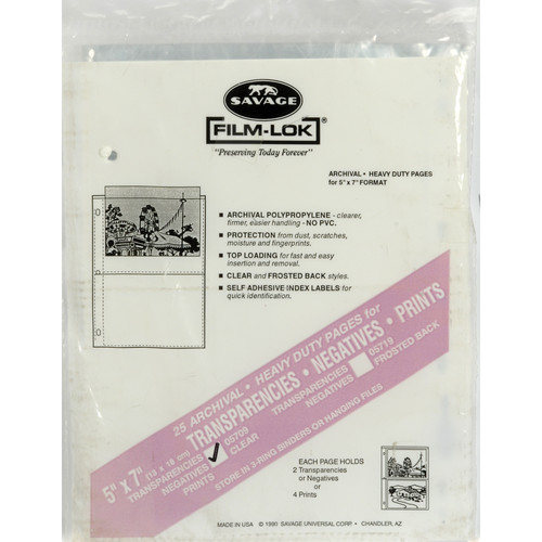 """Savage Film-Lok Archival Storage Page for Negatives - 5x7"""" - Holds 2 Negatives or Transparencies - Clear Back - 25 Pack"""