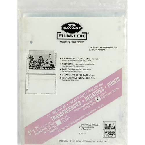 "Savage Film-Lok Archival Storage Page for Negatives - 5x7"" - 25 Pack"