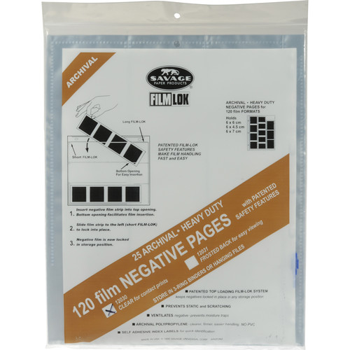 Savage Film-Lok Archival Storage Page for Negatives - 120mm - 25 Pack