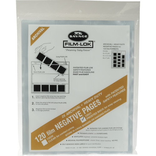 Savage Film-Lok Archival Storage Page for Negatives, 120mm - 25 Pack