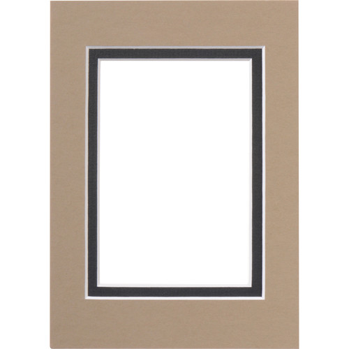 "Savage ProMatte Pre-Cut Museum Mat - Double Whitecore - 5 x 7"" Mat to Hold 3.5 x 5"" Print - Tumblewed/Matte Black"