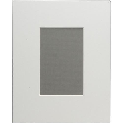 """Savage ProMatte Pre-Cut Museum Mat - 8 x 10"""" with 4 x 6"""" Opening - Polar White"""