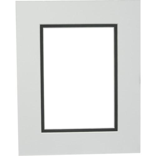 """Savage ProMatte Pre-Cut Museum Mat - Double Whitecore - 8 x 10"""" Mat to Hold 5 x 7"""" Print - Polar/Matte Black"""