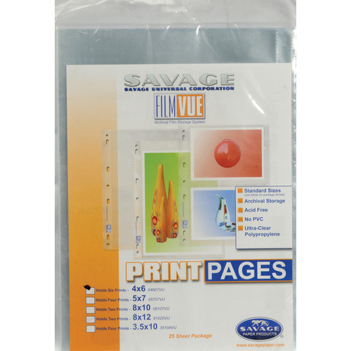 "Savage Film-Vue Print Page - Holds Two 8 x 12"" Prints - 25 Pack"