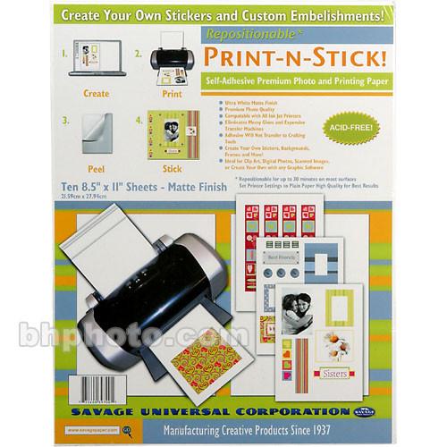 "Savage Print-n-Stick Self-Adhesive Premium Photo and Printing Paper - 8.5 x 11"" - 10 Sheets"