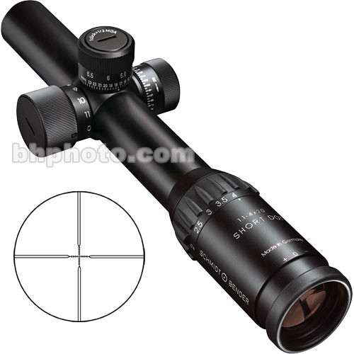Schmidt & Bender 1.1-4x20 Short Dot CQB Riflescope with CQB Reticle