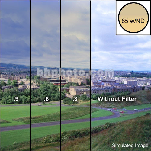 """Schneider 3x3"""" Combination Color Conversion 85/Neutral Density (ND) .3 (1-stop) Water White Glass Filter"""