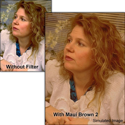 """Schneider 5.65x5.65""""  Solid Color Maui Brown 2 Water White Glass Filter"""