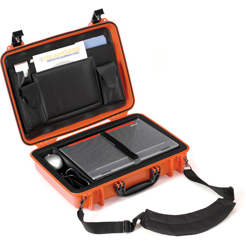 Seahorse 710CC Laptop Computer Case with Lid Organizer and Laptop Tray (Orange)