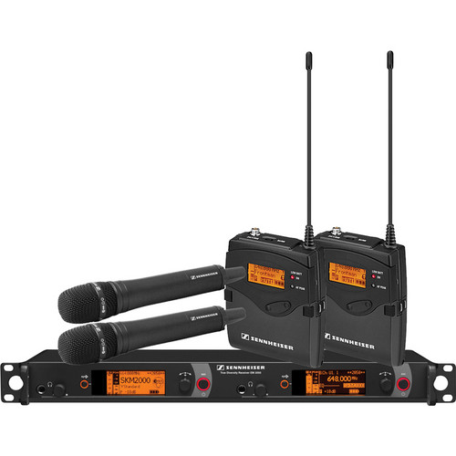 Sennheiser 2000 Series Dual Combo Wireless Microphone System (Black Handhelds)