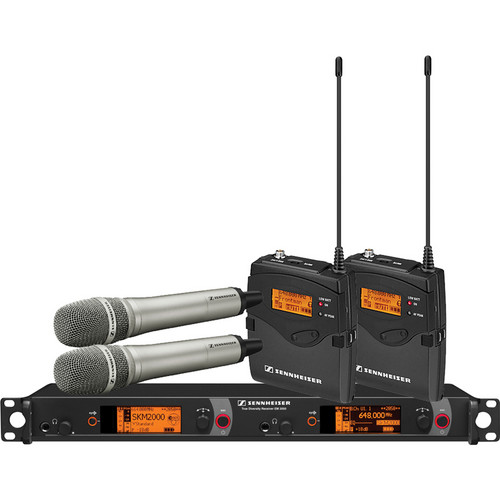 Sennheiser 2000 Series Dual Combo Wireless Microphone System (Nickel Handhelds, A: 516 to 558 MHz)