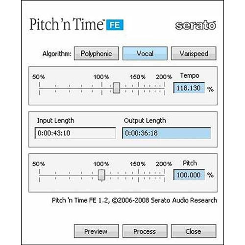Serato Pitch 'n Time FE - Time-Stretching and Pitch-Shifting Plug-In
