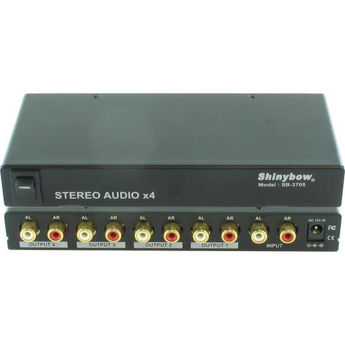 Shinybow SB-3705 1 x 4 Stereo Audio Distribution Amplifier (RCA)
