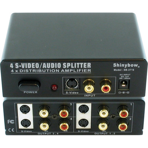 Shinybow SB-3716 1 x 4 S-Video & Stereo Audio Distribution Amplifier (Mini-DIN-4/RCA)