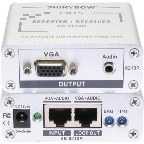 Shinybow SB-6210R CAT5/VGA RGBHV/HDTV Stereo Audio Repeater & Receiver