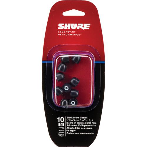 Shure EABKF1-10M Replacement Black Foam Sleeves for SE-Series (Medium, 5 Pair)