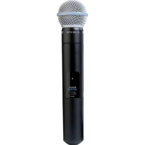 Shure PGXD2/BETA58 Digital Wireless Handheld Microphone Transmitter with Beta 58A Capsule