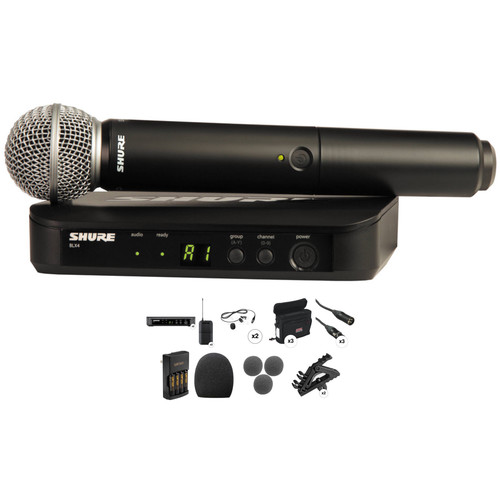 Shure PGX Series Dual Wireless Handheld and Lavalier Microphone Combo Kit (J6 / 572.250 - 589.875 MHz)