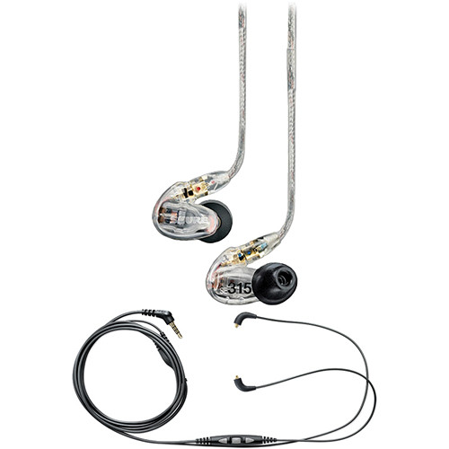 Shure SE315 Sound-Isolating In-Ear Stereo Earphones (Clear) with Mic & Remote Cable Kit