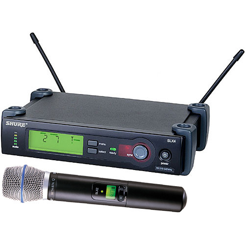 Shure SLX24/BETA87A Wireless Handheld Microphone System with Beta 87A Capsule (G4: 470 to 494 MHz)