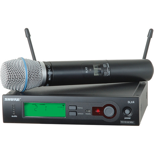 Shure SLX24/BETA87C Wireless Handheld Microphone System with Beta 87C Capsule (H5: 518 to 542 MHz)