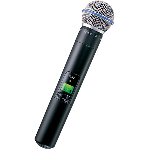 Shure SLX2/BETA58 Handheld Wireless Microphone Transmitter with Beta 58A Capsule (J3: 572 to 596 MHz)