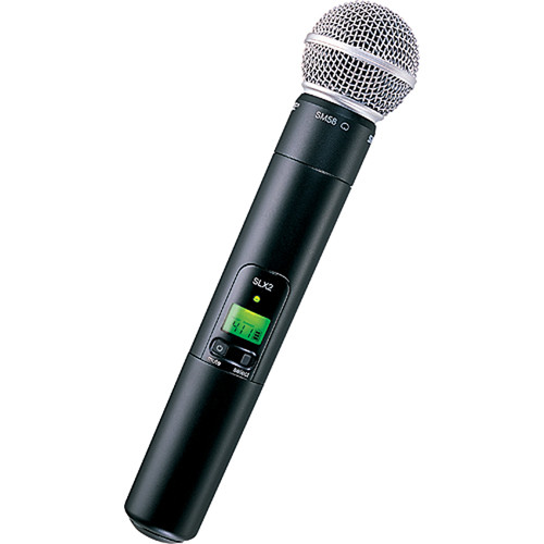 Shure SLX2 Handheld Wireless UHF Transmitter with SM58 Microphone (G4: 470 to 494 MHz)