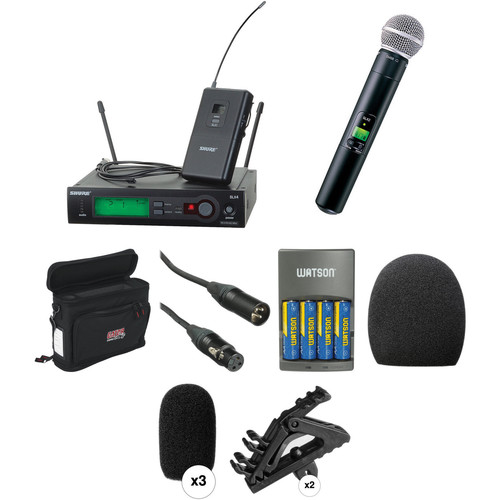 Shure SLX Series Basic Wireless Lavalier and Handheld Microphone Combo Kit (H5: 518 - 542 MHz)