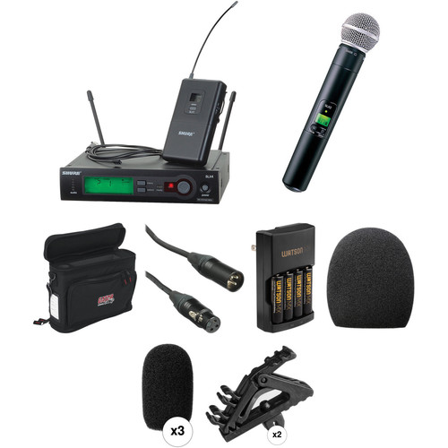 Shure SLX Series Basic Wireless Lavalier and Handheld Microphone Combo Kit (J3: 572 - 596 MHz)