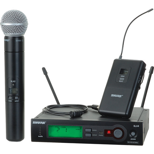 Shure SLX Series Dual Wireless Handheld Microphone and Lavalier Combo Kit (H5: 518 - 542 MHz)