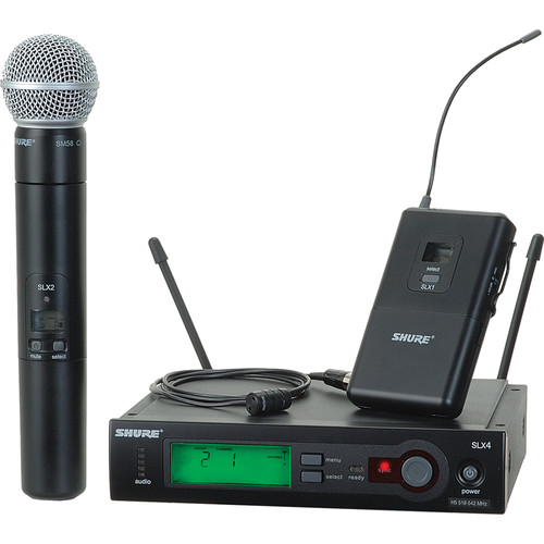 Shure SLX Series Dual Wireless Handheld Microphone and Lavalier Combo Kit (J3: 572 - 596 MHz)