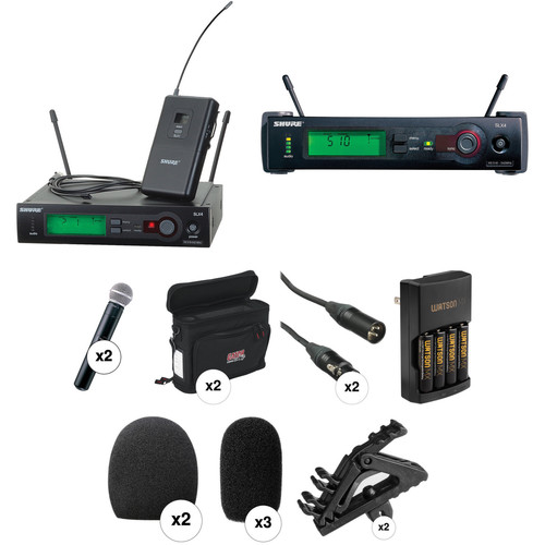 Shure SLX Series Dual Wireless Lavalier and Handheld Microphone Combo Kit (J3: 573 - 596 MHz)