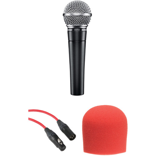 Shure SM58 Handheld Dynamic Microphone Kit (Red Cable & Windscreen)