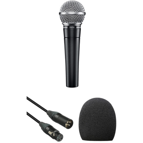 Shure SM58 Handheld Dynamic Microphone Kit (Black Cable & Windscreen)