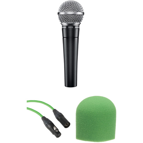 Shure SM58 Handheld Dynamic Microphone Kit (Green Cable & Windscreen)