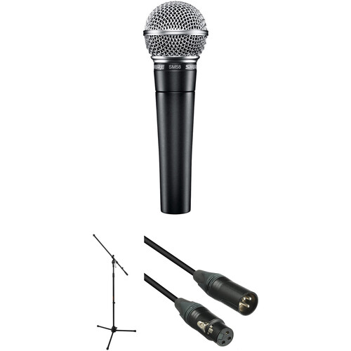 Shure SM58-LC Dynamic Microphone with Stand & Cable Kit