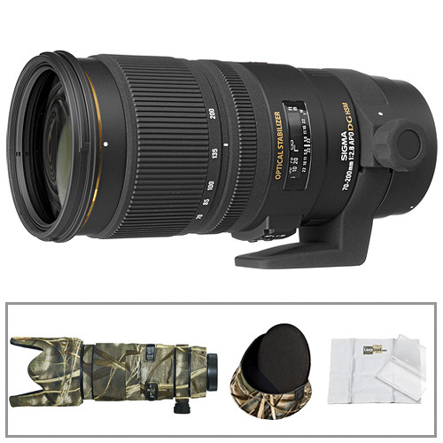 Sigma 70-200mm f/2.8 EX DG APO OS HSM Lens for Canon with Realtree LensCoat Cover, Hoodie & Cleaning Kit