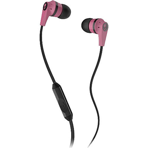 Skullcandy INK'D MIC'D Earbud Headphones (Pink and Black)