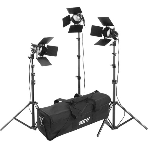 Smith-Victor K33 3-Light 1800 Watt Portable Attache Kit with Barndoors