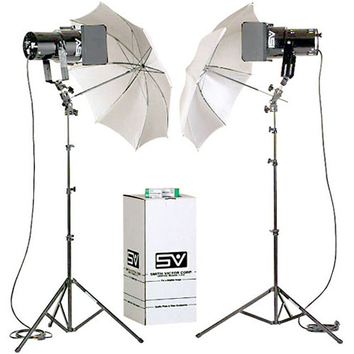 Smith-Victor K61-U 2-Light 1200 Watt Controlled Quartz Kit with Umbrellas (120V)