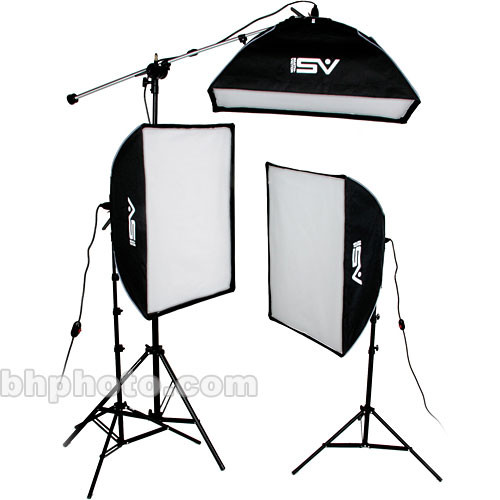 Smith-Victor KSBQ-2500 2500 Watt Pro SoftBox Light Kit with Mini-Boom (120V)