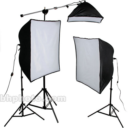 Smith-Victor KSB-1250 3-Light 1250 Watt Economy SoftBox Kit with Mini Boom (120V)