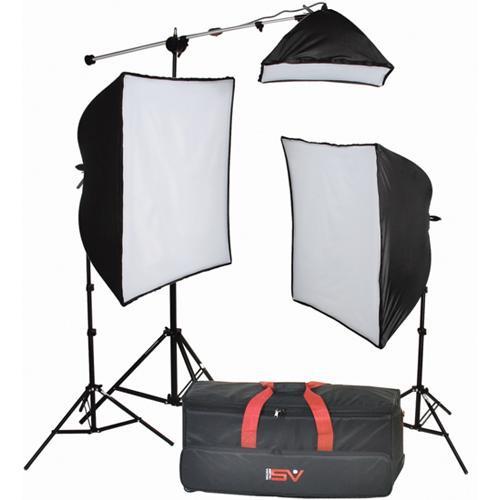 Smith-Victor KSB-1250F 3-Light Fluorescent Economy SoftBox Kit with Mini-Boom (120 VAC)
