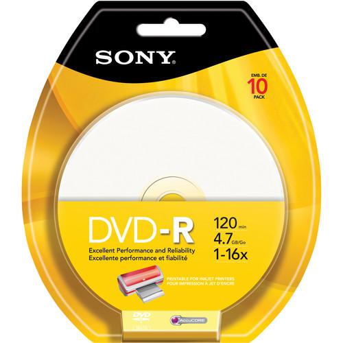 Sony Inkjet Printable 4.7 GB DVD-R (10 Discs)