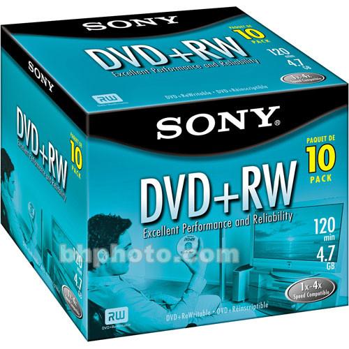 Sony 4.7GB DVD+RW Discs - 10 Pack