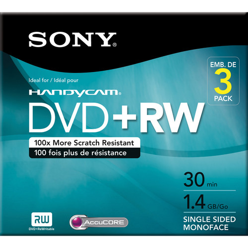 Sony 8 cm DVD+RW (Pack of 3) with Hangtab